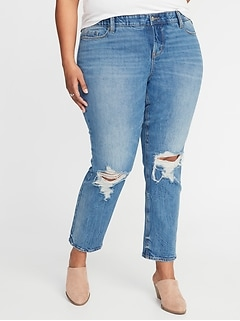 a8f94692051 High-Rise Secret-Slim Pockets + Waistband Power Straight Plus-Size  Distressed Jeans