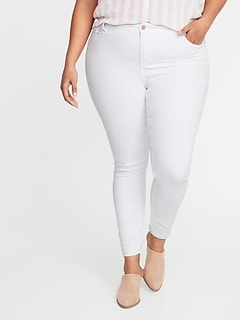 5ce48fba2e High-Rise Secret-Slim Pockets Plus-Size Rockstar Super Skinny White Jeans