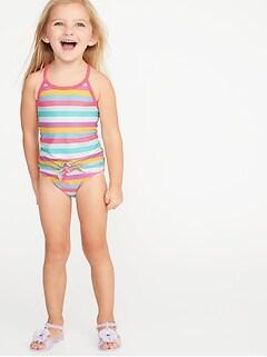 Striped Tie-Hem Tankini Swim Set for Toddler Girls d52cf7a4e