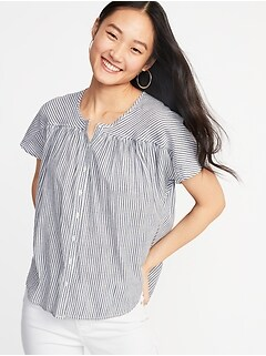 068e6819648 Striped Button-Front Shirt for Women