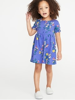 f1951339ef341 Printed Fit   Flare Button-Front Dress for Toddler Girls