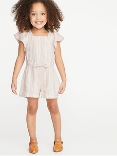 e20b5b5269d9 Striped Linen-Blend Romper for Toddler Girls