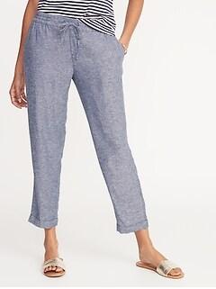 c824423d45d Mid-Rise Linen-Blend Cropped Pants for Women