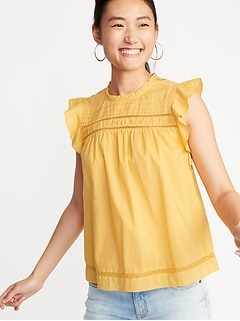 cb7a0bcc8 Ruffled Crochet Lace-Trim Flutter-Sleeve Blouse for Women