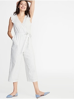 67af05c89d4 Faux-Wrap Tie-Belt Linen-Blend Jumpsuit for Women