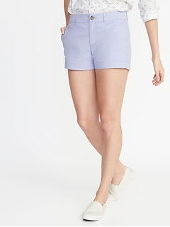 "Mid-Rise Twill Everyday Women's Shorts for 3 1/2"" inseam"