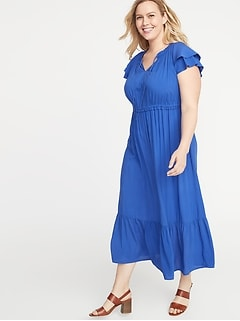 5971f0737d8d Ruffled Waist-Defined Plus-Size Midi