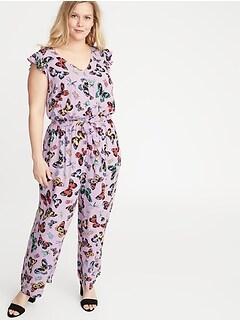 b6becaf2409c73 Butterfly-Print Tie-Belt Plus-Size Jumpsuit