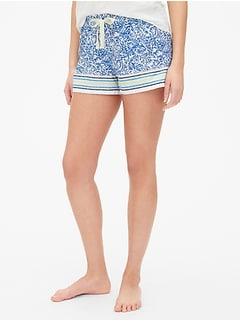 223417dbec5ae Print Drawstring Shorts in Poplin