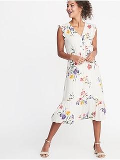 fc5c9105499 Waist-Defined Flutter-Sleeve Midi for Women