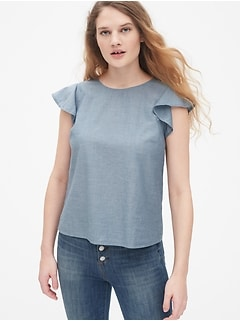 c7fa5f8ccdf287 Flutter Sleeve Top in Chambray