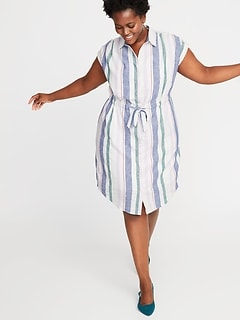 621613bb8a71f New to Dresses. Striped Linen-Blend Tie-Waist Plus-Size No-Peek Shirt Dress
