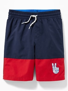 8f390e2d0dc54 Color-Blocked Embroidered-Graphic Swim Trunks for Boys