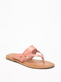 efdca80ef990e2 Faux-Leather Capri Slide Sandals for Women