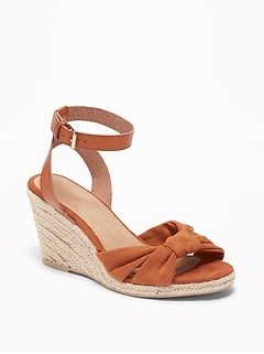 f6fe1ef7d24b Knotted Faux-Suede Wedge Sandals for Women