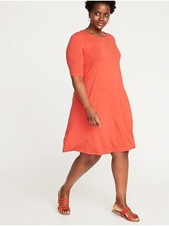 19c503ab197 Dresses. Jersey Elbow-Sleeve Plus-Size Swing Dress