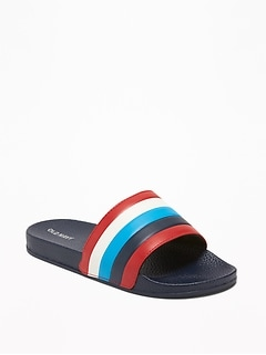 8c88ce05e Faux-Leather Pool Slide Sandals for Boys