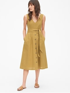 53b1a964152c Button-Front Midi Dress in Linen