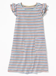 a0990152a713 Patterned French Terry Ruffle-Sleeve Dress for Girls