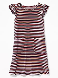 07d84e38f3b Patterned French Terry Ruffle-Sleeve Dress for Girls