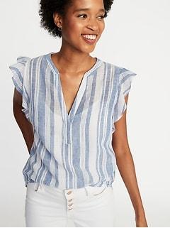 b292dbd177b Sleeveless Ruffle-Trim Linen-Blend Top for Women