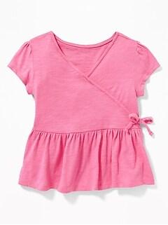 79853599d Slub-Knit Faux-Wrap Peplum-Hem Top for Toddler Girls