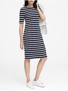441bee9d18 Stripe Ribbed T-Shirt Dress