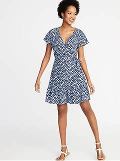 a6147a46bd9a9 Waist-Defined Wrap-Front Dress for Women