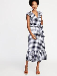 6cdd483180f Waist-Defined Wrap-Front Gingham Midi for Women
