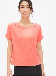 d745a25a GapFit Slub Roll Sleeve T-Shirt