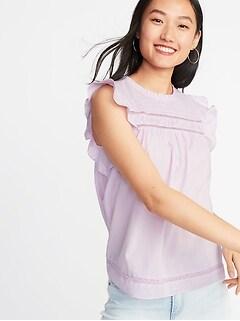 eb907c45f4578 Ruffled Crochet Lace-Trim Flutter-Sleeve Blouse for Women
