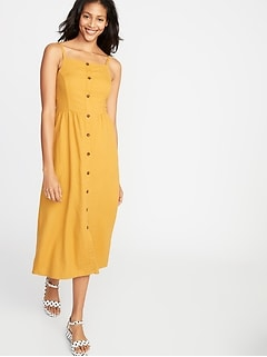9f099fdcf4ec Square-Neck Button-Front Linen-Blend Midi for Women
