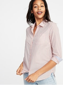 90df06bf8537 Classic Button-Front Shirt for Women