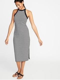1c058b6a3e Fitted High-Neck Sleeveless Midi Dress for Women
