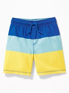 69f04a17c3 Functional Drawstring Color-Blocked Swim Trunks for Toddler Boys