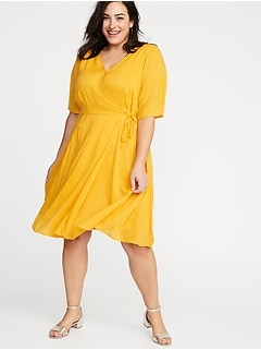 82643015283b Faux-Wrap Waist-Defined Plus-Size Dress