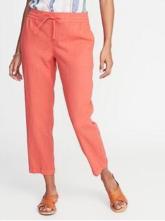 58a70e60ecb56 Mid-Rise Linen-Blend Straight-Leg Cropped Pants for Women