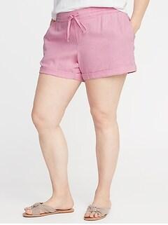 80e15d2ad3 Mid-Rise Tie-Waist Plus-Size Linen-Blend Shorts - 5-