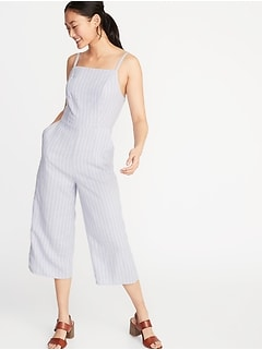 ab46ade240ac Striped Linen-Blend Cami Jumpsuit for Women