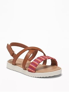 affd68ca166f Textured Cross-Strap Platform Sandals for Toddler Girls