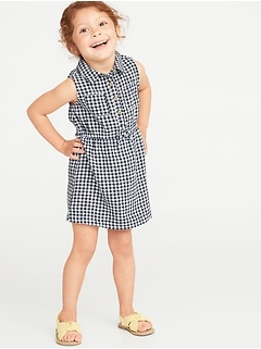 9d7ae1c81a0 Sleeveless Gingham Shirt Dress for Toddler Girls