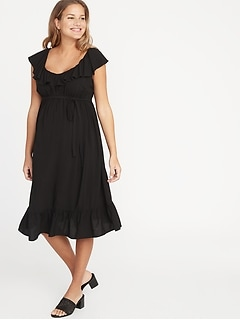 Clothing, Shoes & Accessories Dresses Efficient Motherhood Maternity Dress Xl Black Wrap