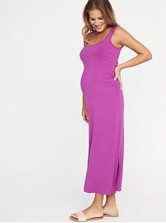 7524e0b6214fa9 Maternity Side-Slit Maxi Tank Dress
