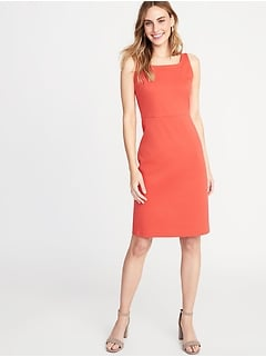 8356e7fa1b Ponte-Knit Square-Neck Sheath Dress for Women