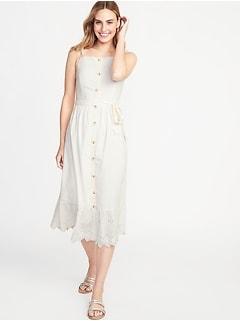 3649cc90a774e Square-Neck Button-Front Midi Dress for Women