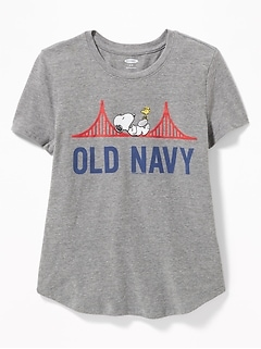 faf2cc8ffd Peanuts  174 Snoopy Old Navy Logo Tee for Girls