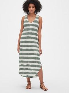 0eeb44cb593 Soft Slub V-Neck Midi Dress
