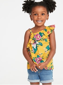 2bae5852 One-Shoulder Ruffle-Trim Swing Top for Toddler Girls