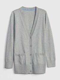 갭 키즈 여아용 가디건GAP Kids Uniform Cardigan Sweater,grey heather