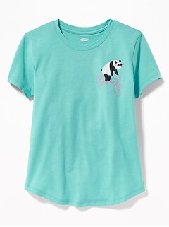 b9751fcbc9517 Graphic Curved-Hem Tee for Girls